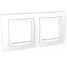 Рамка двухместная Schneider Electric Unica MGU2.004.18 с декоративным элементом белая