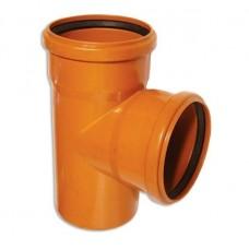 Тройник канализационный ПВХ 160х160 мм 90 градусов с кольцом рыжий