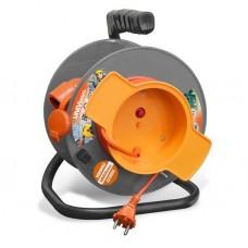 Удлинитель силовой на катушке UNIVersal У10-028 9633261 40 м с термовыключателем 1 розетка с защитной крышкой без заземления ПВС 2х0,75 1300 Вт IP54