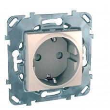 Механизм розетки Schneider Electric Unica MGU5.037.25ZD одноместный с заземлением и защитными шторками бежевый