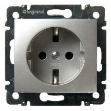 Механизм розетки Legrand Valena 770120 с заземлением одноместный алюминиевый