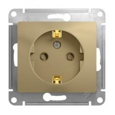 Механизм розетки Schneider Electric Glossa GSL000445 одноместный с заземлением и защитными шторками титан