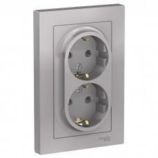 Розетка Schneider Electric AtlasDesign ATN000324 двухместная с заземлением алюминий