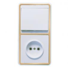 Блок розетки с выключателем Кунцево-Электро Бэлла БКВР-037 одноклавишный белый с золотом
