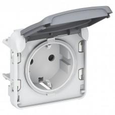 Механизм розетки Legrand Plexo 069571 одноместный с заземлением и крышкой серый