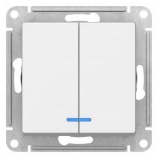 Механизм выключателя Schneider Electric AtlasDesign ATN000153 двухклавишный с индикатором белый