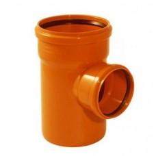 Тройник канализационный ПВХ 160х110 мм 90 градусов с кольцом рыжий