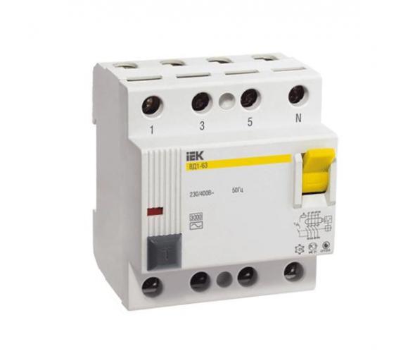 Автоматический выключатель УЗО IEK ВД1-63 4Р 80А 300мА