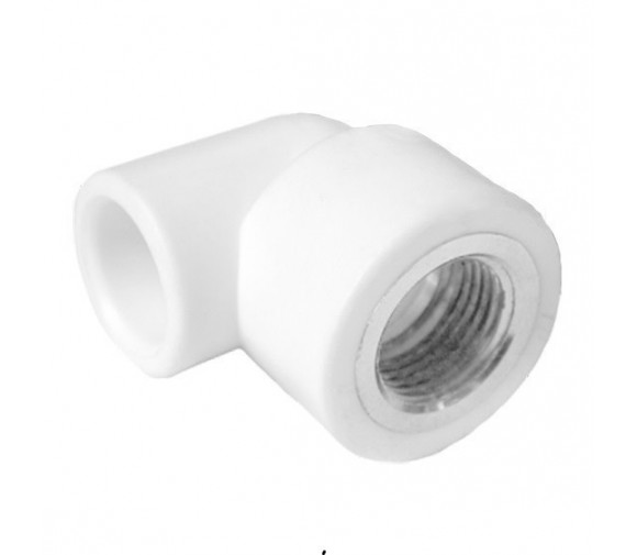 Угольник комбинированный PPRC FDplast 20 мм 1/2 дюйма с внутренней резьбой белый