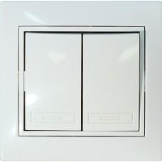 Выключатель двухклавишный скрытой установки белый