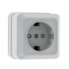 Розетка EKF Рим ENR16-028-100 одноместная с заземлением и защитными шторками белая