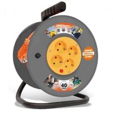 Удлинитель силовой на катушке UNIVersal ВЕМ-250 9634153 30 м с термовыключателем 4 розетки с защитными шторками с заземлением ПВС 3х0,75 2200 Вт IP20