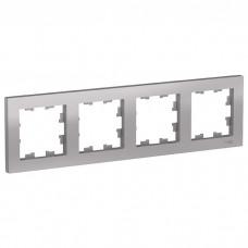 Рамка четырехместная Schneider Electric AtlasDesign ATN000304 алюминий
