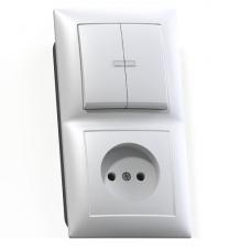 Блок розетки с выключателем Кунцево-Электро Селена БКВР-418 двухклавишный белый