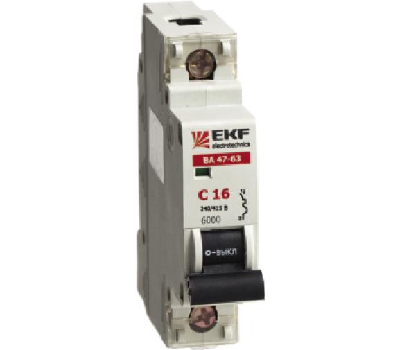Автоматический выключатель EKF ВА 47-63, 1п (ЭКФ)/63А (С) 6кА