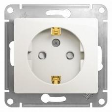 Механизм розетки Schneider Electric Glossa GSL000645 одноместный с заземлением и защитными шторками перламутр