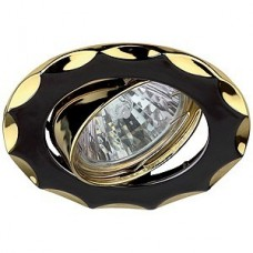 Светильник точечный Эра Kl12A Gu/G литой поворотный звезда Mr16 12В 50Вт черный металл/золото 253975