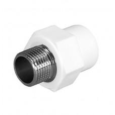 Муфта комбинированная PPRC FDplast 40 мм 1 1/4 дюйма с наружной резьбой под ключ белая