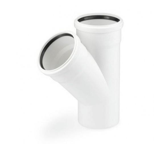 Тройник канализационный RAU-PP Rehau Raupiano Plus 50х50х50 мм 45 градусов белый