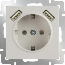 Werkel WL03-SKGS-USBx2-IP20 одноместный с USBх2 с заземлением и защитными шторкам Слоновая кость