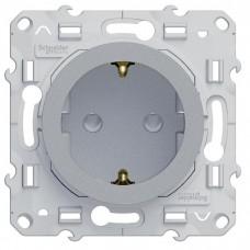 Механизм розетки Schneider Electric Odace S53R037 одноместный с заземлением и защитными шторками алюминий
