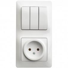 Блок розетки с выключателем Schneider Electric Glossa GSL000176 трехклавишный белый