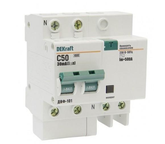 Автоматический выключатель дифференциального тока DEKraft ДИФ-101 2п C 50А 30мА тип AC 4.5кА