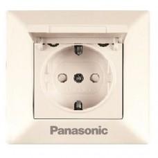 Розетка Panasonic Arkedia WMTC02102BG-RES одноместная кремовый с крышкой
