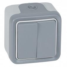 Переключатель Legrand Plexo 069715 двухклавишный серый