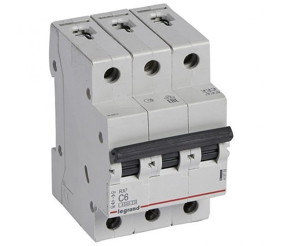 Автоматический выключатель Legrand RX3 419705 3P C 6A 4,5 кА