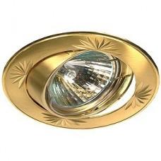 Эра Kl3A Sg/G литой круглый поворотный с гравировкой Mr16 12В 50Вт сатин золото/золото 253971