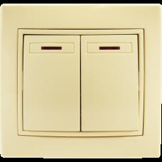 Выключатель двухклавишный с подсветкой С/У. бежевый