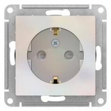 Механизм розетки Schneider Electric AtlasDesign ATN000445 одноместный с заземлением и защитными шторками жемчуг