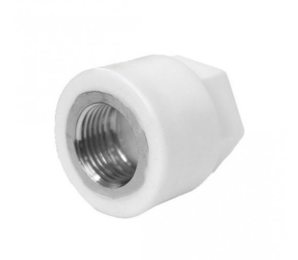 Муфта комбинированная PPRC FDplast 20 мм 1/2 дюйма с внутренней резьбой под ключ белая