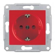 Механизм розетки Schneider Electric Sedna SDN3000341 одноместный с заземлением и защитными шторками красный