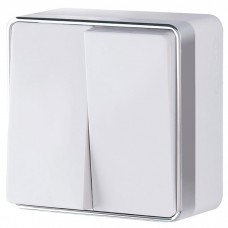 Выключатель накладной Werkel Gallant WL15-03-01 двухклавишный белый