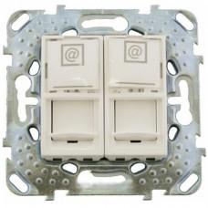 Механизм компьютерной розетки Schneider Electric Unica MGU5.2020.25ZD 2хRJ45 двойной бежевый