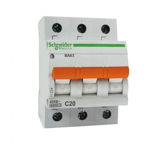Автоматический выключатель Schneider Electric Домовой ВА63 3П C 20A 4,5кА