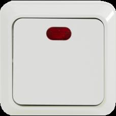 Выключатель одноклавишный с подсветкой О/У белый