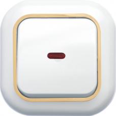 Выключатель Кунцево-Электро Валентина С16-068(З) одноклавишный с подсветкой белый с золотом