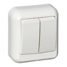 Выключатель Schneider Electric Прима A56-029-B двухклавишный белый