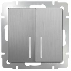 Механизм выключателя Werkel WL09-SW-2G-2W-LED двухклавишный проходной с индикатором серебряный рифленый