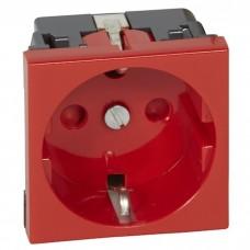 Механизм розетки Legrand Mosaic 077214 одноместный с заземлением и защитными шторками красный