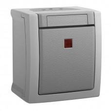 Выключатель Panasonic Pacific WPTC40022GR-RES одноклавишный с подсветкой серый