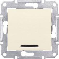 Механизм выключателя Schneider Electric Sedna SDN1400147 одноклавишный с синим индикатором бежевый
