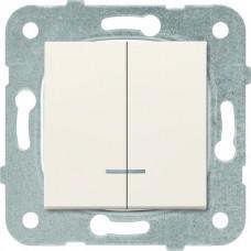 Механизм выключателя Panasonic Karre Plus WKTT00102BG-RES двухклавишный с подсветкой кремовый