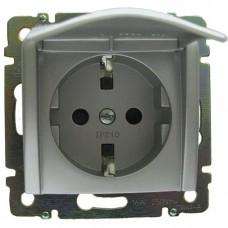 Механизм розетки Legrand Valena 770122 одноместный с заземлением и крышкой алюминий
