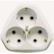 Розетка Кунцево-Электро РА16-833 трехместная с заземлением белая