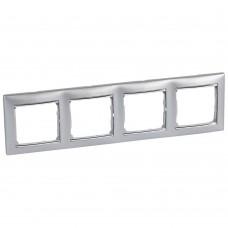Рамка четырехместная Legrand Valena 770354 горизонтальная алюминий/серебряный штрих