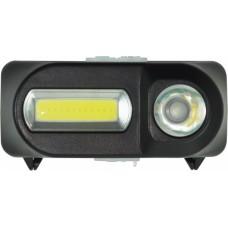 Фонарь налобный светодиодный аккумуляторный, 1HPLED+1COB, аккум 18650, пластик